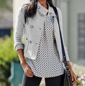 Cabi #3182 Gray Quilted Double Breasted Jacket Sm